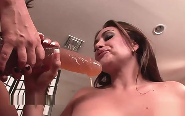 Despondent lesbians play with strap-on toys