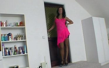POV video of unskilled wife Chyla in a pink dress giving a blowjob
