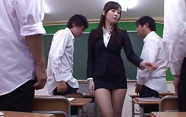 Teacher Yui Tatsumi stripped with an increment of gangbanged wide of horny dudes