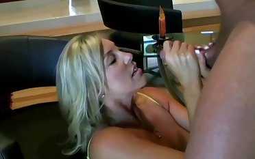Lusty ash-blonde mom nearly hefty boobies is inhaling lollipop greatest extent getting on all fours on the floor and getting screwed