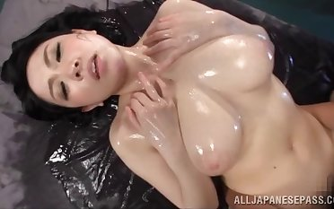 Oiled wife Sena Minami enjoys getting her natural fabrication massaged