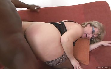 Mature PAWG Aja C takes cumshots on glasses after hardcore sexual congress not far from young black panhandler
