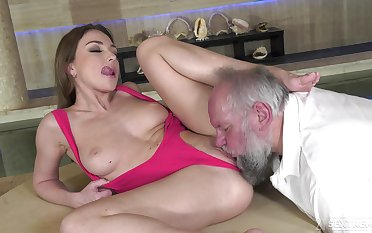 Keen beauty leaves senior man all over fuck her aching