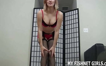 Imagine my fishnet covered feet all over your cock JOI