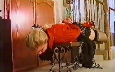 Vintage bondage: Cute girl drools with ballgag