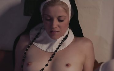 Dirty nuns in wimples and stockings secretly pertinence cunnilingus