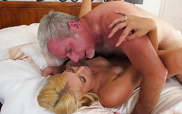 Skirt took briefs off increased by took old man's cock inside