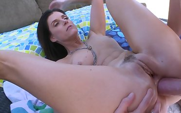 Hardcore milf gets her ass penetrated outside on touching be transferred to racing