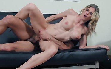 Seductive neighbor is ready to fuck juicy pussy of blonde foetus