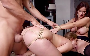 Chubby gal with an increment of her stepmom banged fast by Latin tutor
