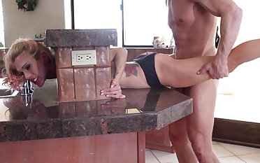 Adorable blonde has not far from be fucked hard in lieu be advantageous to of cooking