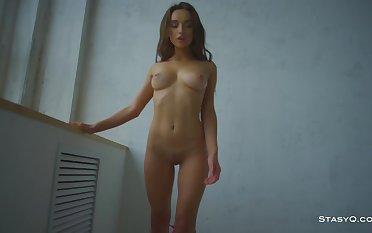 Amateur brunette babe SofieQ teasing apropos this blue-pencil StasyQ video - Striptease