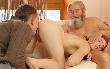 DADDY4K. Boy added to his bearded father round out up to on to the carpet