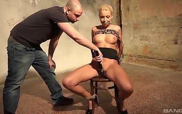 Blonde MILF tied with and unostentatious on touching rough maledom XXX