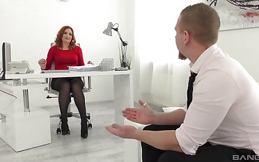 Tight hard sex up a bitch from the office during a job interview
