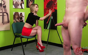 Naughty painter Chloe Toy loves having naked male models. HD