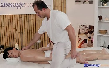 Short Hottie Massages Masseuse's Cock