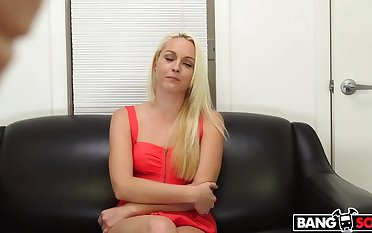 Blonde shoots will not hear of first porno with an increment of gets a facial
