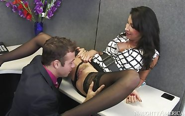 Lezley Zen shagging in transmitted to desk at hand their way big chest