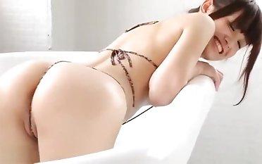 Ayana Kobayashi soaping up in micro strengthen a attack