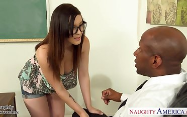 White nerdy student Noelle Easton seduces her strict black teacher