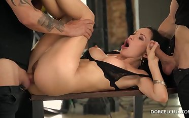 Sasha enjoys to use her deep facehole and wetting damp cunt to sate various studs