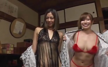 Lucky dude gets to bang four Japanese chicks readily obtainable the same time