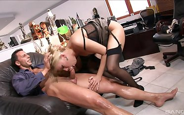 Gagged office MILF wants to swallow