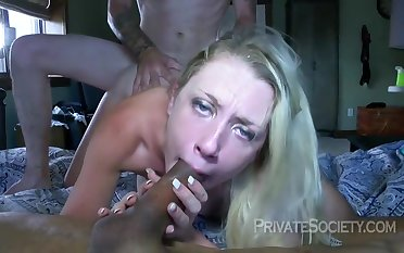 Blonde Squirting Nourisher Takes Two Dicks Helter-skelter Her Home Swinger Party