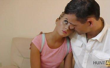 Lovely blond girlfriend makes her boyfriend cuckold be fitting of money