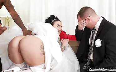 Right after the bridal ceremony, successfully jugged bride is cuckolding her spouse with ebony fellows