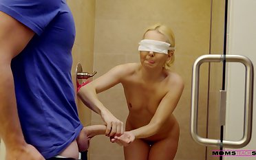 Blindfolded blondie Aaliyah Love gets fucked by her room-mate