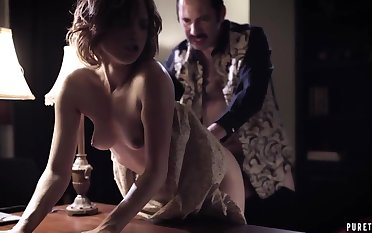 Tyrant husband fucks impenetrable depths throat and wet pussy of obedient wife