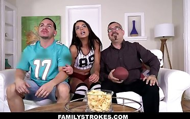FamilyStrokes- Stepsis Flashes her Tits and Seduces Step-Bro