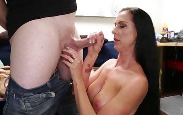 Tender mature alongside prurient body enjoys stepson's cock in hands