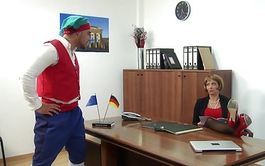 Stella Styles wearing high heels sucking a dick in the office