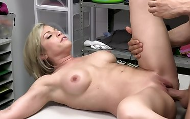 Holdfast officer blackmails sexy blond MILF into quick affair