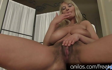 Vanessa Sweets has some huge tits and a hairy snatch