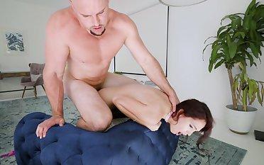 Muscular bloke drills petite Brooke Haze very hard