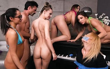 Group sex with a hunk in naughty female orgy