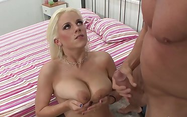 Hot blonde sits obedient to take cock down the ass