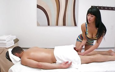 Hot masseuse sucks dick then rides during hot session