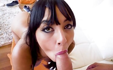 Fine woman amazes with her insane cock sucking
