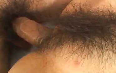 Young Japanese fucked deep in her hairy pussy