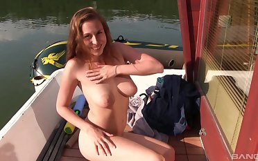 Solo model with natural tits Antonia Sainz masturbates outdoors