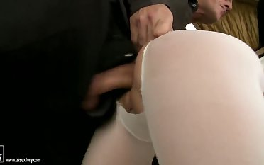Sexy anal scene with a beautiful babe in stockings Alma Blue and her fucker