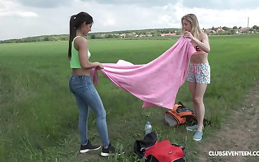 Outdoor lesbian toy insertion thing with Alecia Fox and Angela Allison