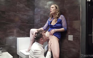 Regurgitate defecate anal fuck with blonde battle-axe Blue Angel in a dress