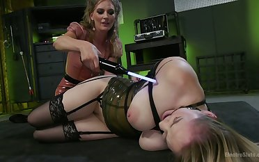 Gagged big breasted cash-drawer Hadley Viscara gets masturbated hardcore