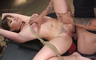 Forsaken busty MILF Alison Rey is tied up and fucked vicar hard